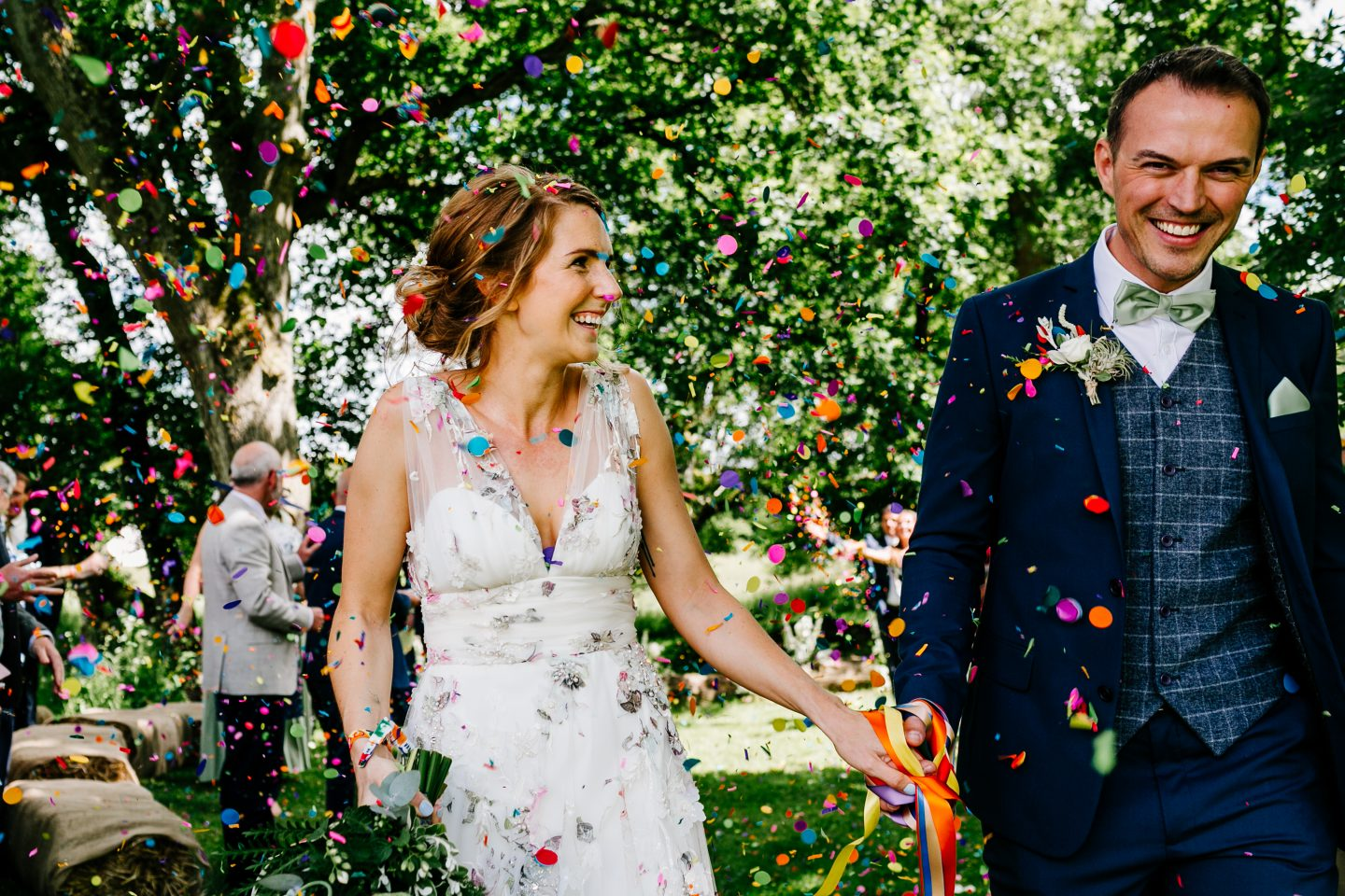 confetti shot back post wedding